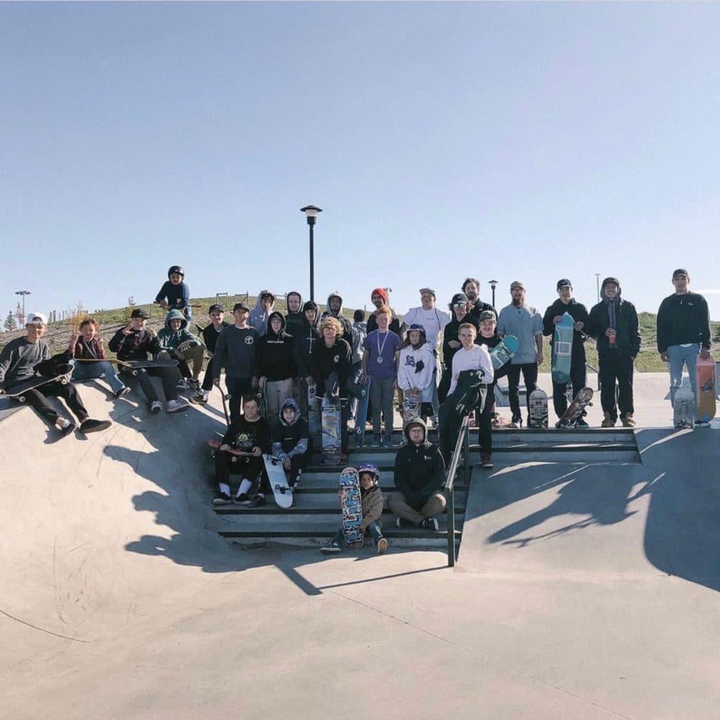 Group photo at a skatepark